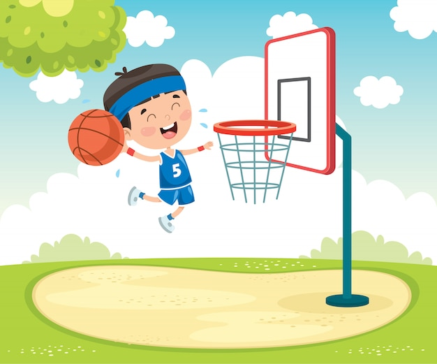 Little kid playing basketball outside