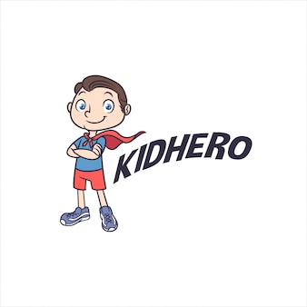 Little kid superhero mascot logo