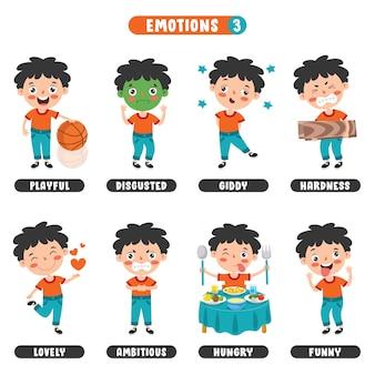 Маленький ребенок с разными эмоциями