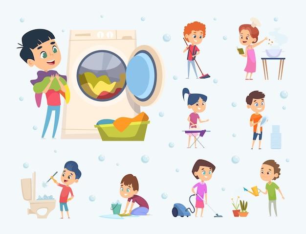 Маленькие дети мальчики и девочки помогают подметающим душем мыть пол, мыть мебель и игрушки из мультфильма.