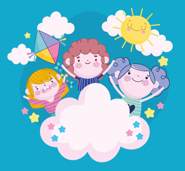 Маленькие дети мультфильм облака солнце воздушный змей мультфильм, детская иллюстрация