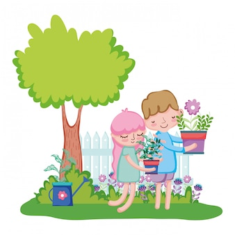 Little kids couple lifting houseplant with fence and tree