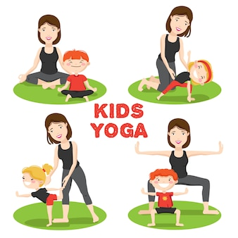 Little kids first yoga asanas poses outdoor on grass with mother cartoon icons