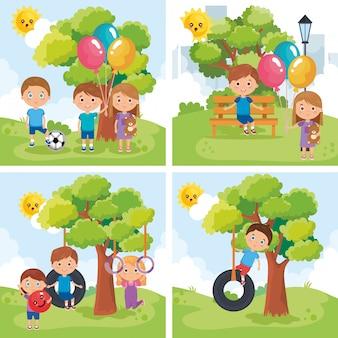 公園で遊ぶ小さな子供たちのグループ