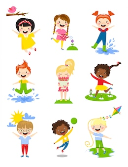Little kids happy spring playing, watering flowers, jumping in puddle, carries bouquet, running, sun happy, launching kite vector.
