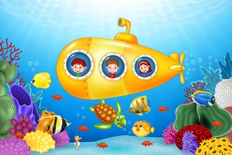 Little kids in submarine on the sea