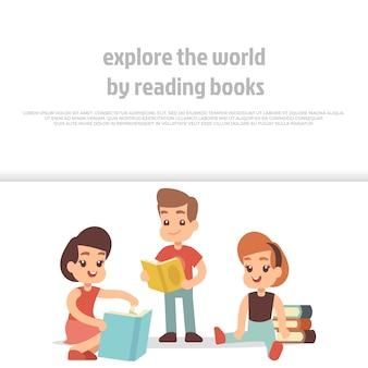 本を読んでいる小さな子供たち