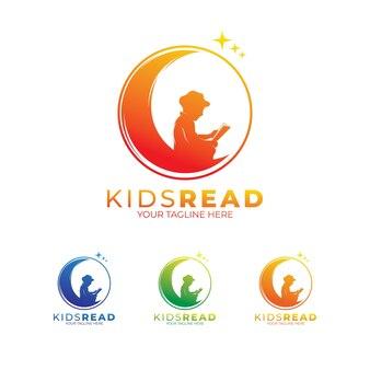로고 디자인을 읽는 어린 아이