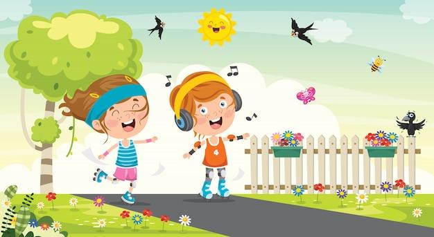 Little kids riding roller skates