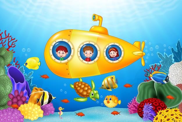 Little kids in submarine on the sea