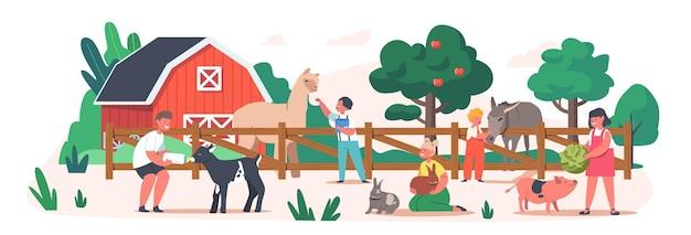 리틀 키즈 방문 동물원 문의. 동물에게 먹이를 주는 아이들, 국내 라마, 토끼, 새끼 돼지, 염소 새끼를 쓰다듬는 유아 캐릭터. 소녀와 소년은 농장에서 시간을 보냅니다. 만화 사람들 벡터 일러스트 레이 션