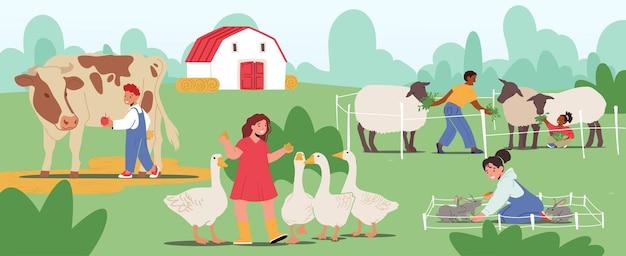 어린 아이들이 농장 동물원을 방문합니다. 동물에게 먹이를 주는 어린이, 국내 양, 토끼, 소를 쓰다듬는 유아 캐릭터