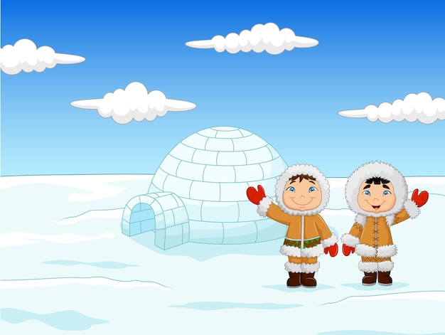 Little kids wearing traditional eskimo costume