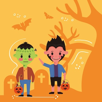 墓地のハロウィーンの衣装のキャラクターを持つ小さな子供たち