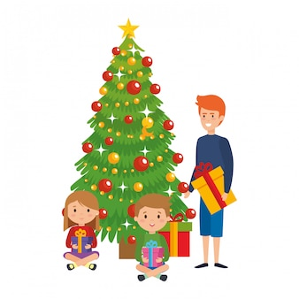 Little kids with winter clothes and christmas tree