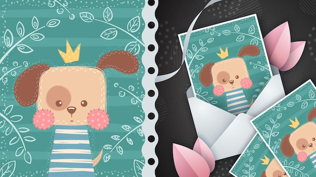 Little king dog for greeting card
