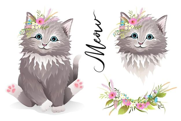 頭に花とちょうど頭のデザイナーのクリップアートコレクションを持つ小さな子猫や猫。子供と大人のtシャツのプリントやその他のデザインのためのリアルな手描きのベクトルかわいい動物。水彩風。