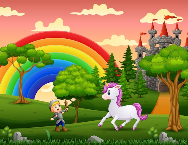 Little knight fights a unicorn in the castle yard