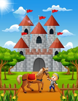 Little knight and horse in front of the castle