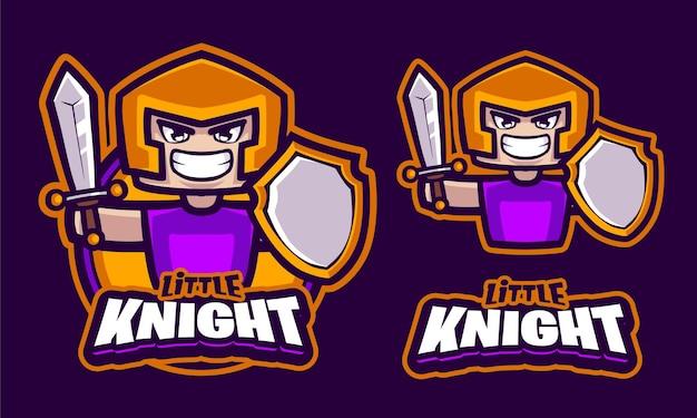 Маленький рыцарь иллюстрация логотип шаблон