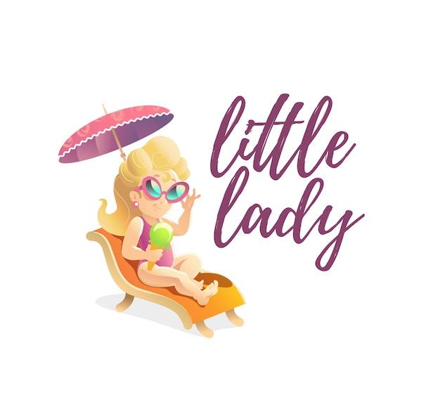 Маленькая дама отдыхает на шезлонге. иллюстрации.