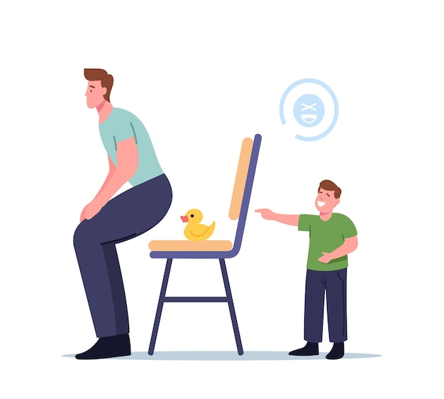Little laughing boy character put rubber duck on chair to kidding dad, child doing prank trick kidding father at home. first april fools day, humorous situation, . cartoon people vector illustration