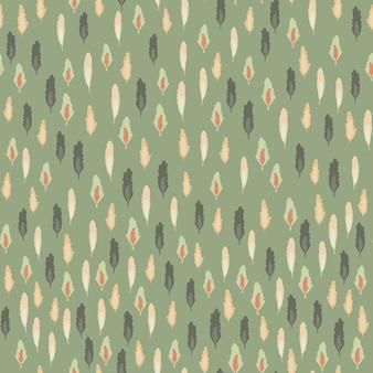 小さな葉のシルエットのシームレスなパターン。柔らかい緑の背景を持つ森のテーマの背景。
