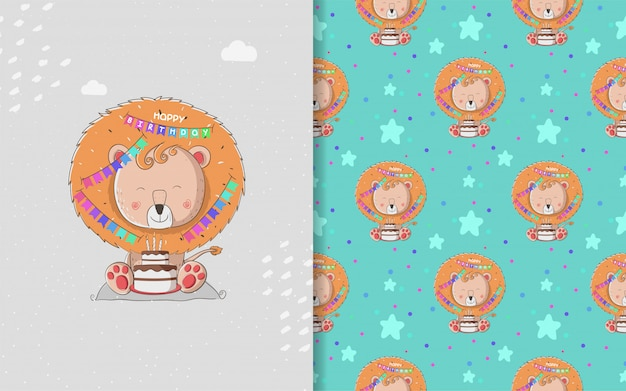 Little lion baby shower and seamless pattern
