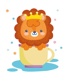 Little lion in cup