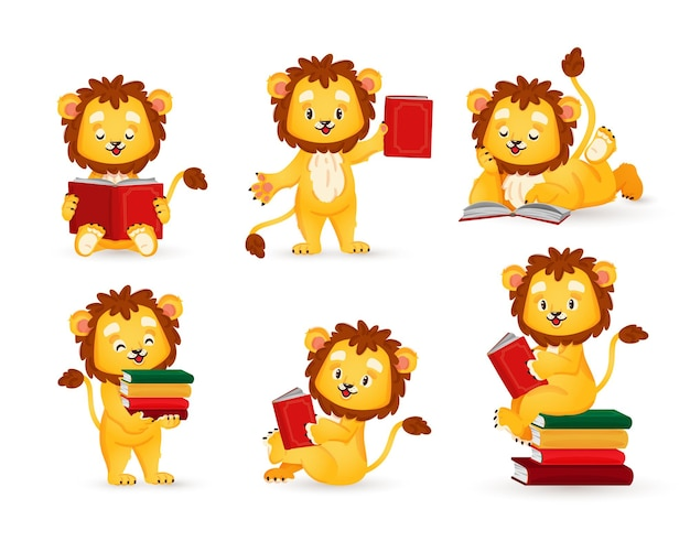 A little lion is reading a book a set of animal figurines in a cartoon style vector illustration