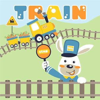 Little machinist cartoon with yellow train