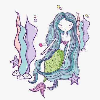 Little mermaid art cartoon
