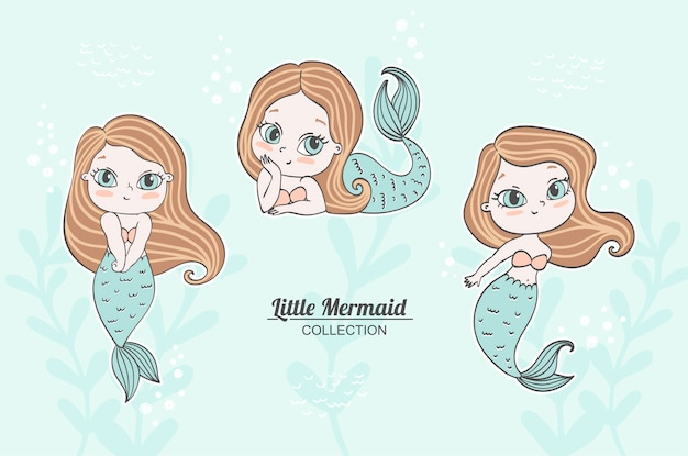 Little mermaid collection cute emotions with pastel color background