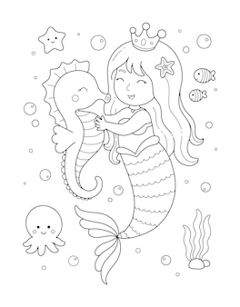 Little mermaid and cute seahorse coloring illustration