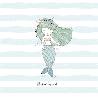 Little mermaid  drawing illustration.