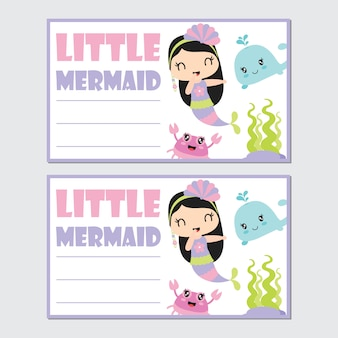 Little mermaid girl with her friend for birthday card