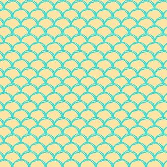인어 공주 완벽 한 패턴입니다. 물고기 피부 질감. 소녀 직물, 섬유 디자인, 포장지, 수영복 또는 벽지를 위한 경작 가능한 배경. 물고기 규모와 노란색 작은 인어 배경.