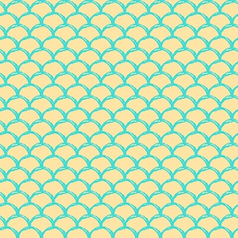 Little mermaid seamless pattern. fish skin texture. tillable background for girl fabric, textile design, wrapping paper, swimwear or wallpaper. yellow little mermaid background with fish scale.