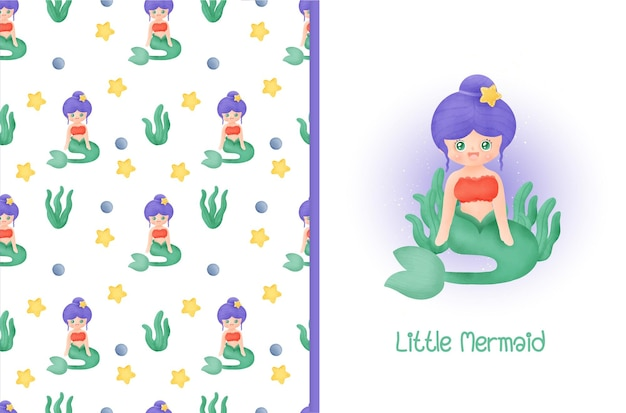 Little mermaid seamless pattern and greeting card .