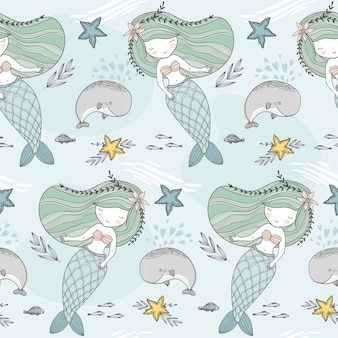 Little mermaid seamless pattern