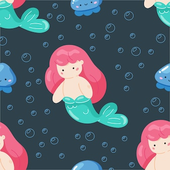 Little mermaid with sea life seamless pattern