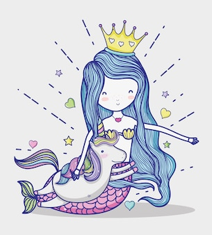 Little mermaid with unicorn art cartoon