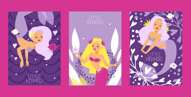 Little mermaids and seaweed and plants set of cards. funny cartoon characters and corals.
