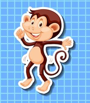 파란색 배경에서 춤추는 작은 원숭이