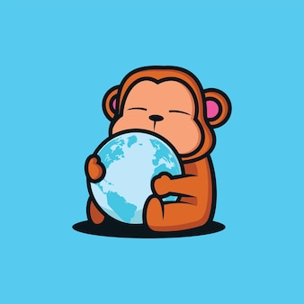 The little monkey is hugging the globe vector