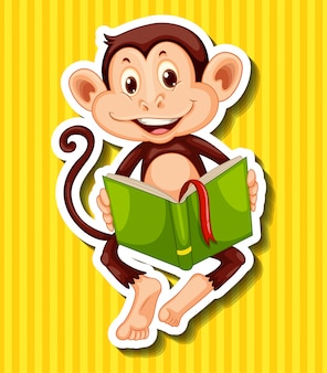 Little monkey reading storybook