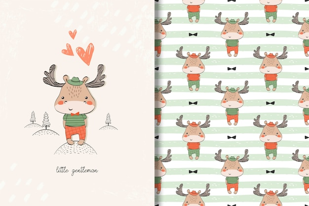 Little moose baby card and seamless pattern. kids illustration with cute background