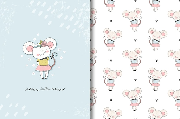 Little mouse card and seamless pattern