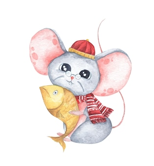 Little mouse holding a fish, chinese new year of the rat. watercolor illustration.