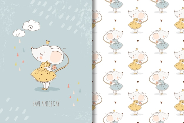 Little mouse princess card and seamless pattern